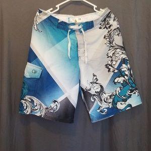OP Board Shorts Size 30 Blue/White/Grey/Black